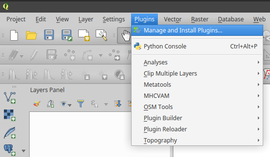 QGIS Manage and Install Plugins in the menu bar