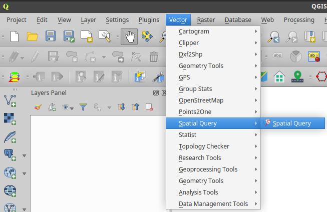 QGIS Spatial Query Plugin in the menu bar