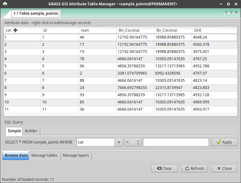 Attribute table with values of sampled raster layers using v.what.rast in GRASS GIS