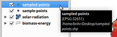 Resulting point layer with sampled values loaded in QGIS