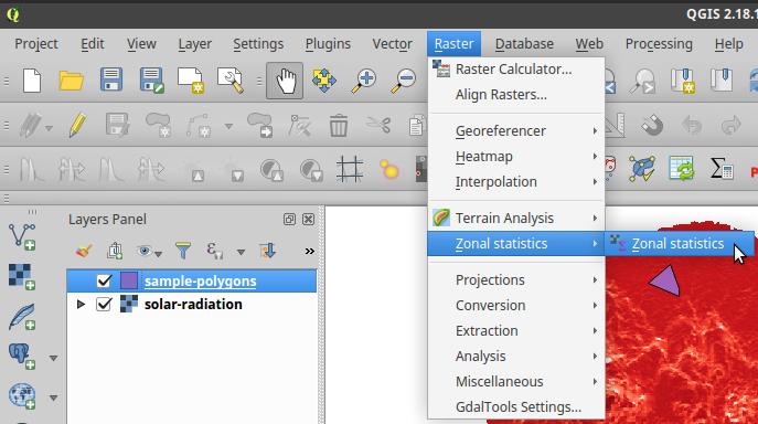 Zonal statistics plugin in QGIS menu bar
