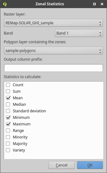 Using the zonal statistics pllugin in QGIS