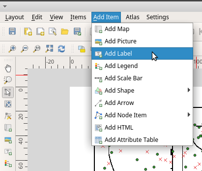 Add map title in QGIS print layout menu bar