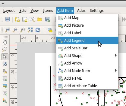 Add map legend in QGIS print layout menu bar