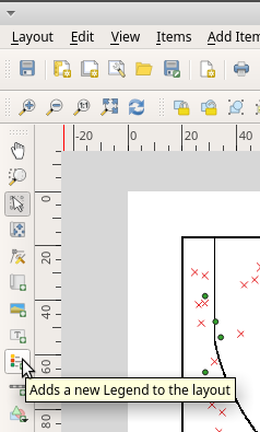 Add map legend in QGIS print layout toolbar