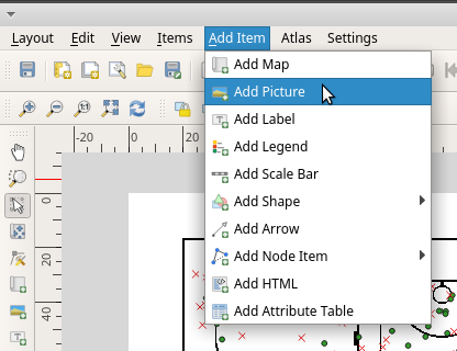 Add picture to map canvas QGIS print layout menu bar