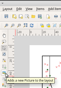 Add picture to map canvas QGIS print layout toolbar