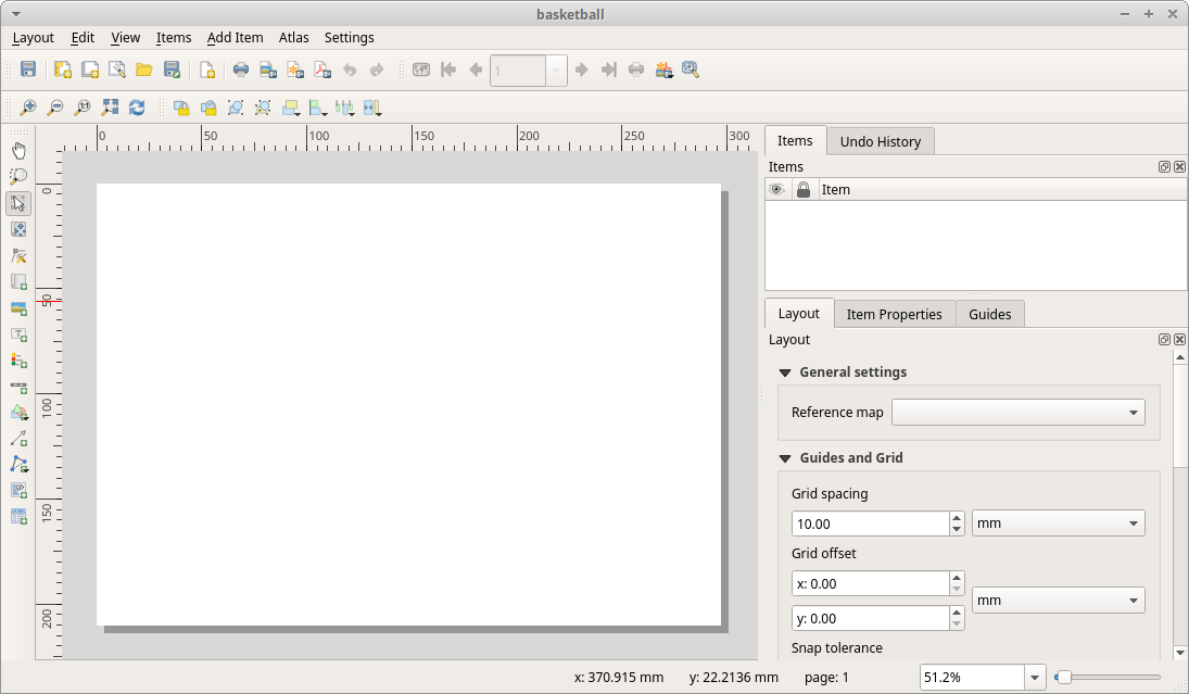 The print layout window in QGIS