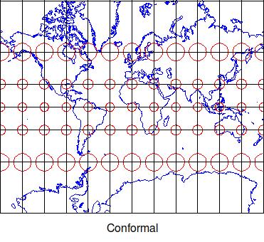 Conformal map projetion Tissot indicatrix