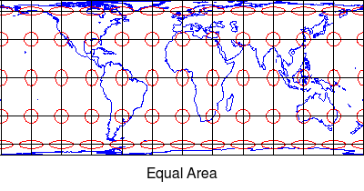 Equal area map projetion Tissot indicatrix