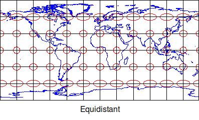 Equidistant map projetion Tissot indicatrix