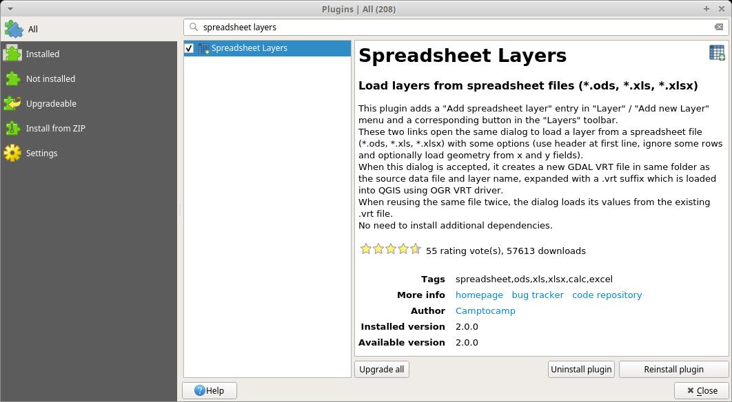Spreadsheet Layers plugin in QGIS