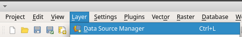 QGIS Data Source Manager toolbar