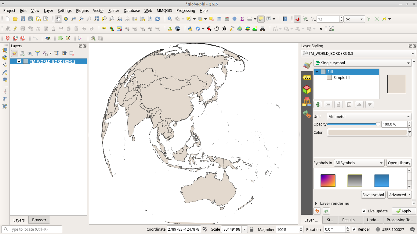Map using custom orthoghraphic projection in QGIS
