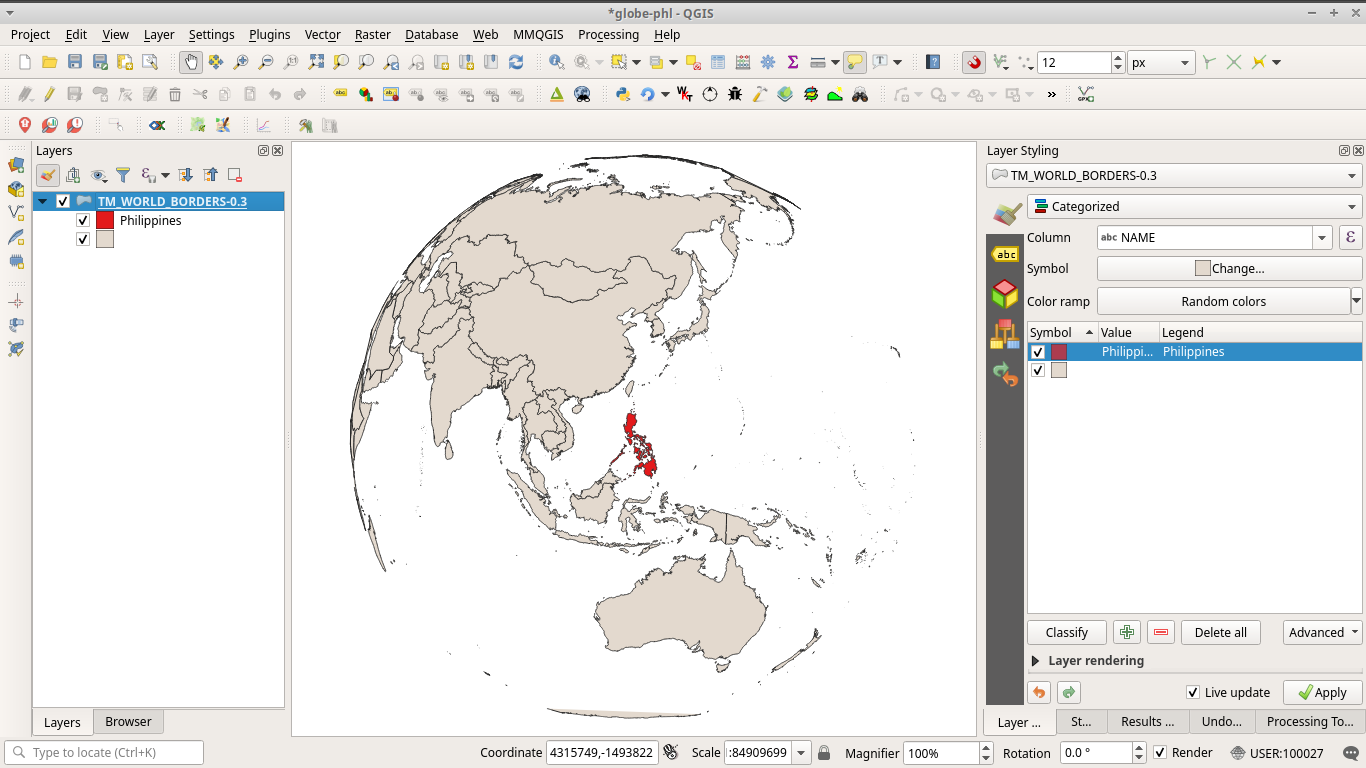 Globe-like custom ortographic projection map in QGIS with the Philippines