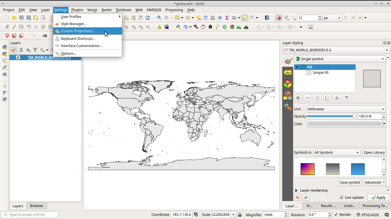 Define custom projection in QGIS