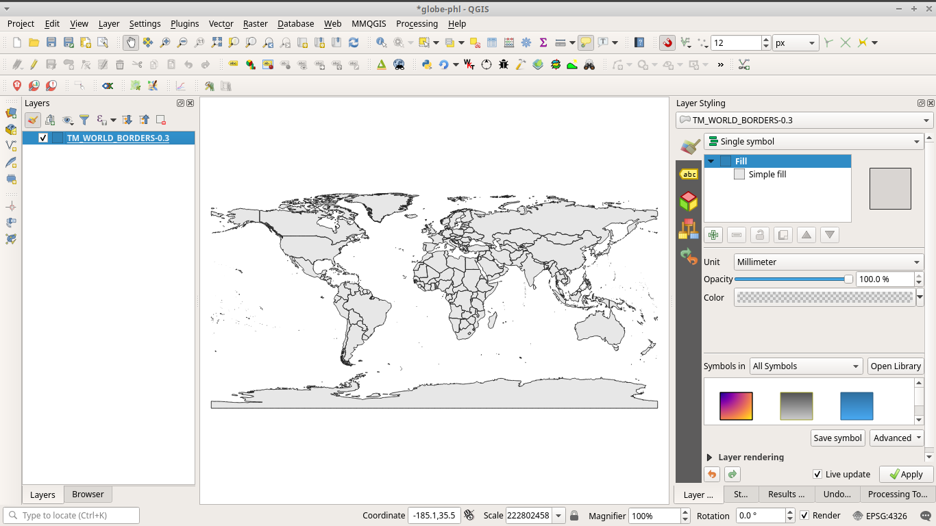 Load World Borders dataset in QGIS