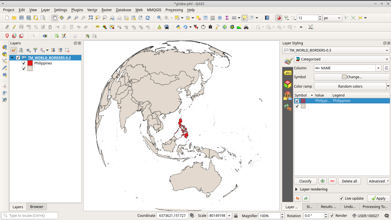 Globe-like orthographic projection map pof the world with the Philippines at center
