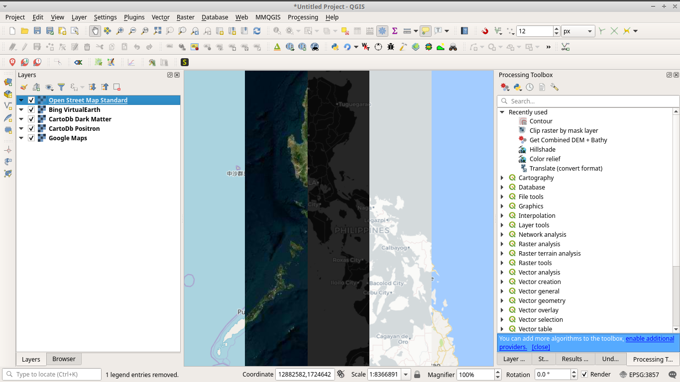 Different basemaps in QGIS