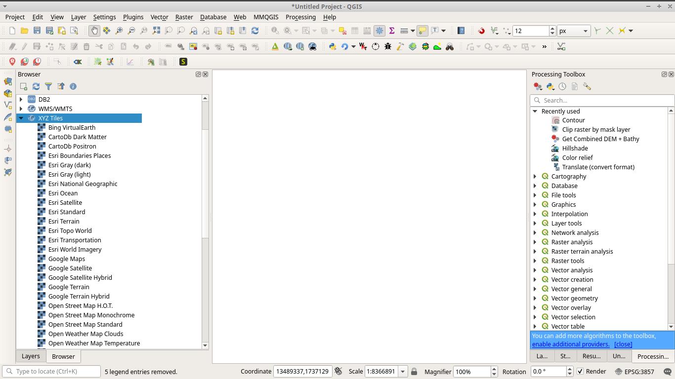 Basemaps added to QGIS browser as XYZ tiles