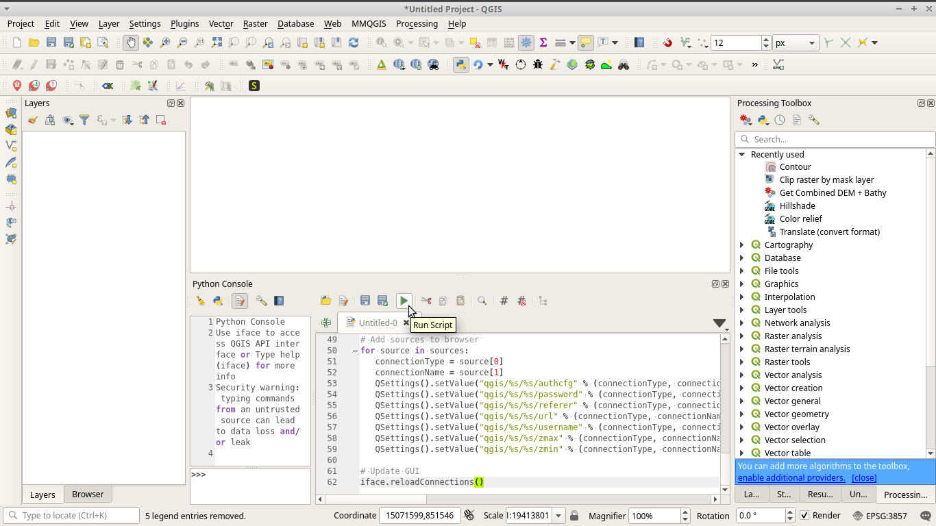 Add and run add basemaps python script in QGIS