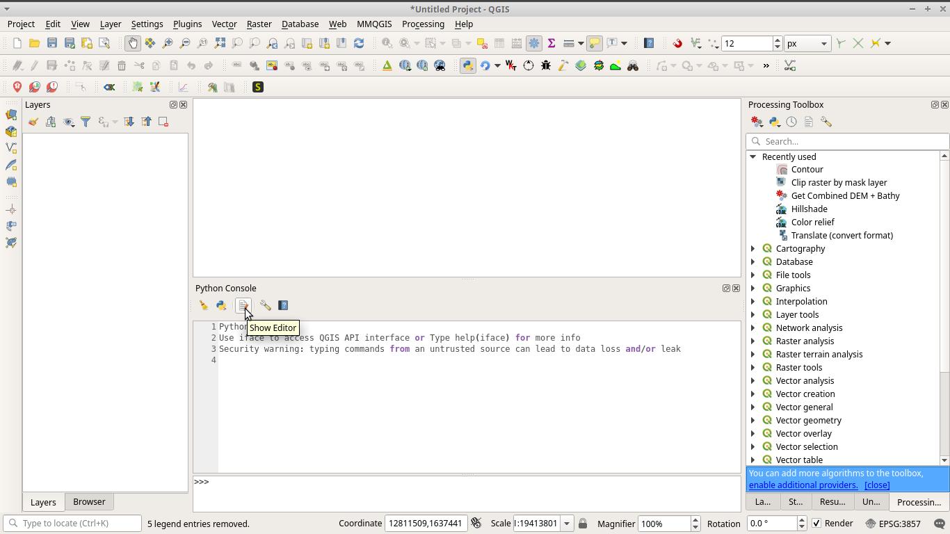 Python console in QGIS