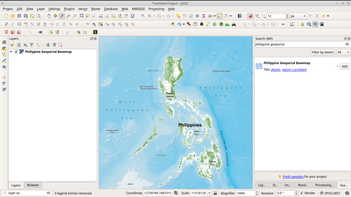 Loaded Philippine Geoportal basemap from QuickMapServices in QGIS