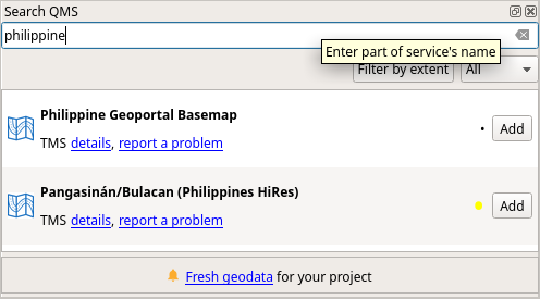 Philippine Geoportal basemap in QuickMapServices in QGIS