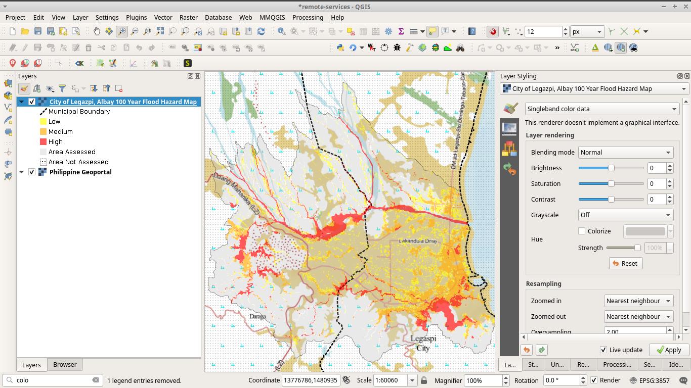 Legazpi City, Albay bay area 100-year flood hazard map from Project NOAH