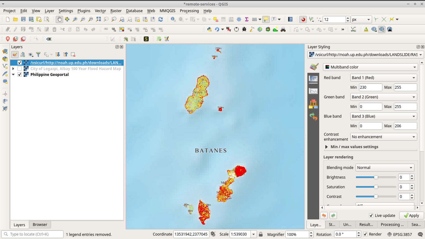 Landslide hazard raster from Project NOAH loaded in QGIS