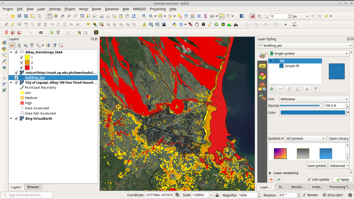 Hazard mapping with Project NOAH data in QGIS