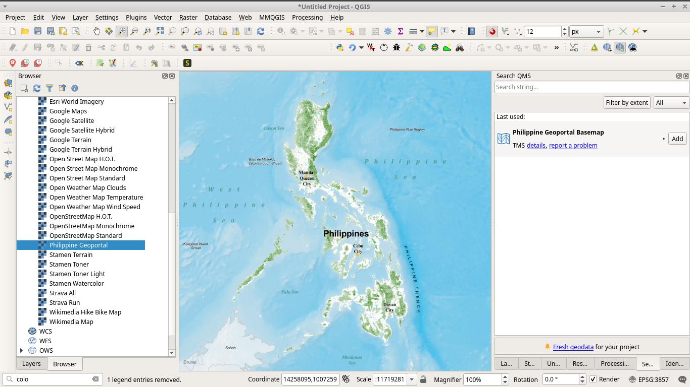 Philippine Geoportal basemap in QGIS