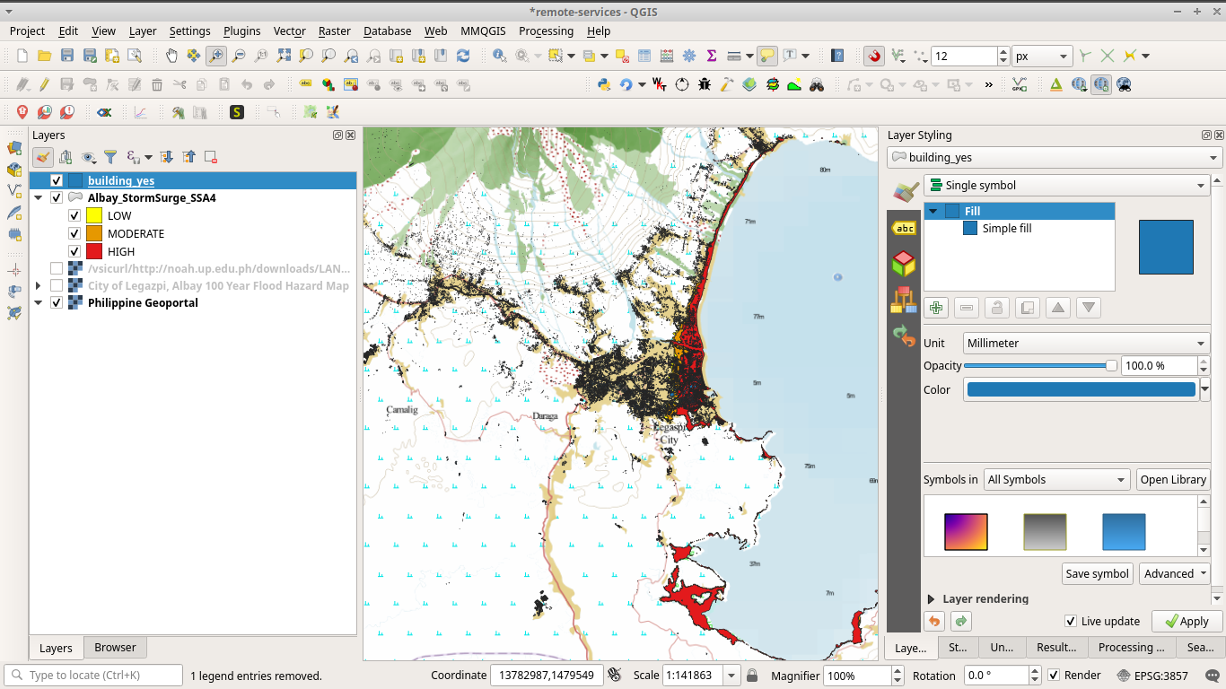 Buildings from OSM loaded in QGIS using the QuickOSM plugin