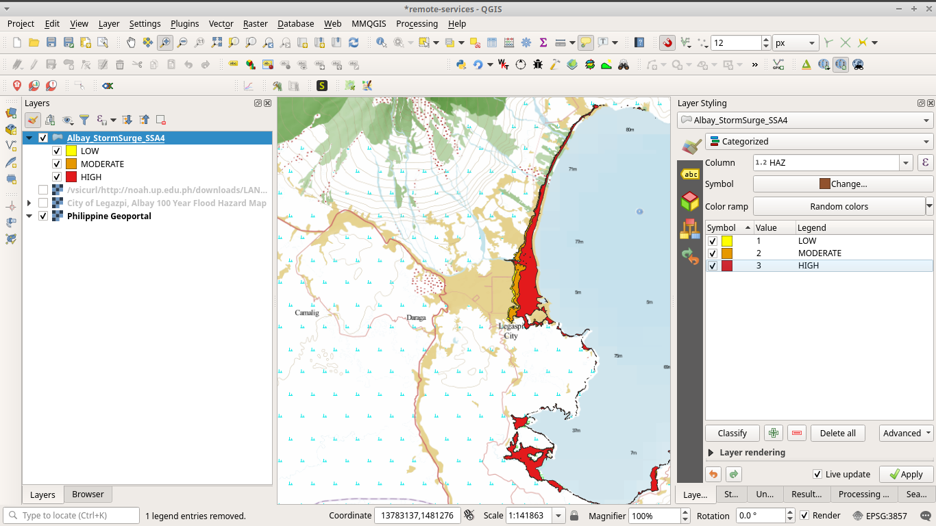 Stormsurge hazard vector from Project NOAH styled in QGIS