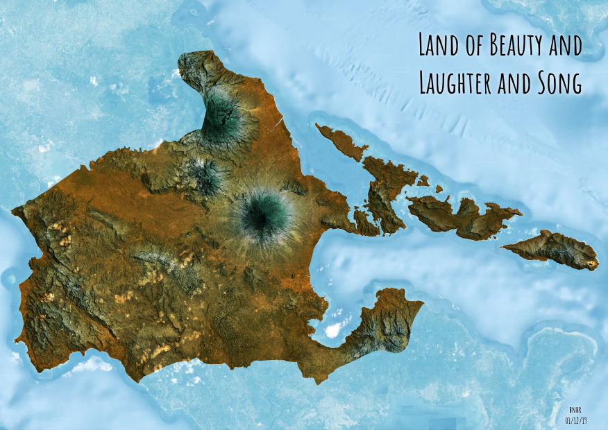 Albay Philippines styled with hillshades in QGIS