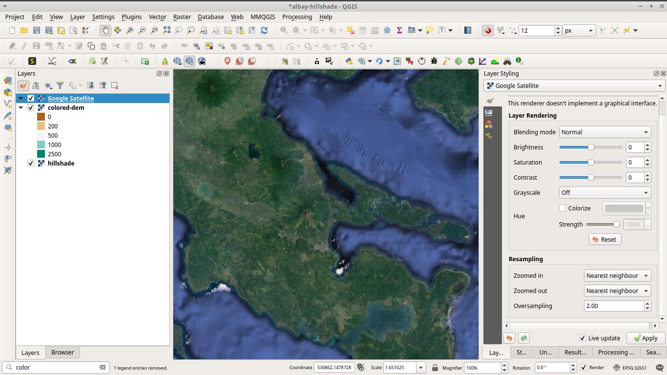 Satellite image loaded in QGIS