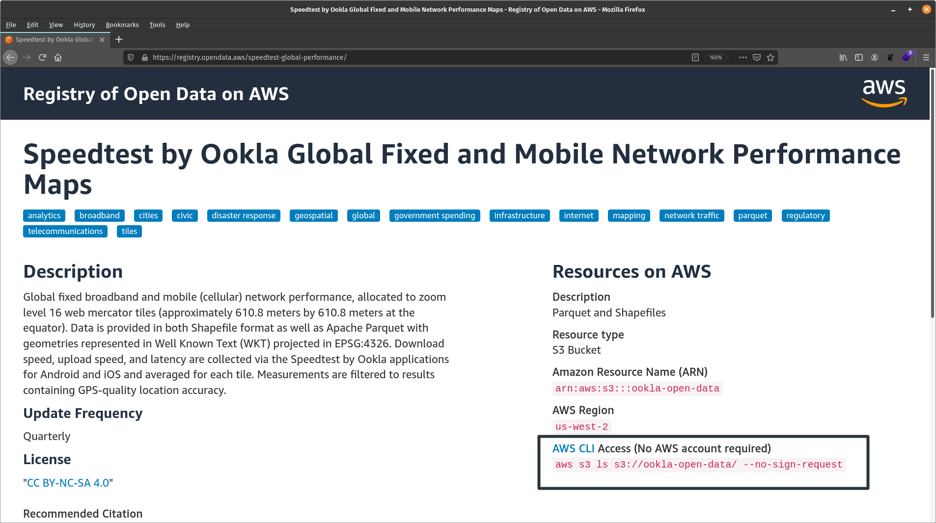 Registry of Open Data on AWS AWS CLI Access