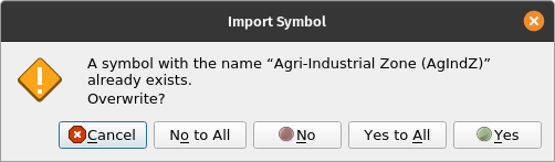 QGIS Style Manager Import Items Warning